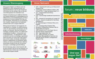 Neuer Vorstellungsflyer für das forum | neue Bildung